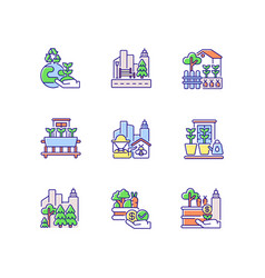 Urban agriculture rgb color icons set vector