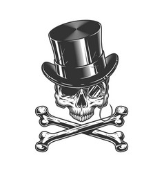 Vintage gentleman skull without jaw vector