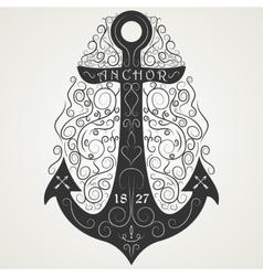 Vintage hand drawn logo flourish anchor vector