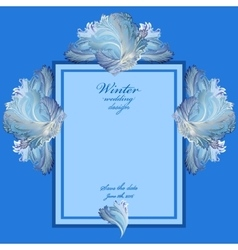Wedding vertical frame with winter frozen glass vector
