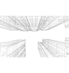 wire-frame model a multi-storey building vector image