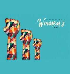 Womens day card women hands together vector
