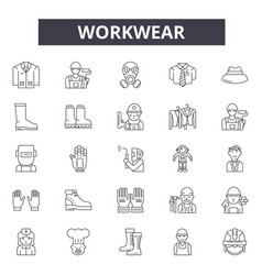 Workwear line icons for web and mobile design vector
