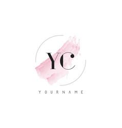 Yc y c watercolor letter logo design with vector