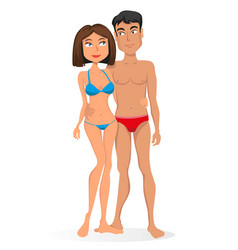 Young couple in swimsuits vector