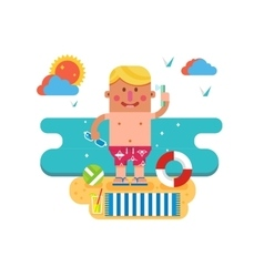 Cartoon man on vacation vector image