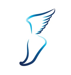 Flying foot logo vector image vector image