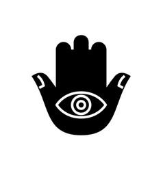 hamsa hand icon black sign vector image