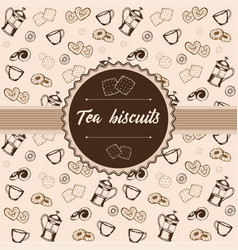 label cookies and crackers kettle and cups vector image