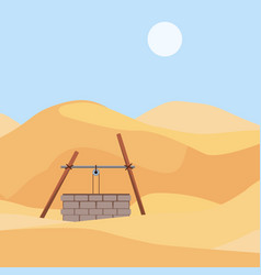 landscape the well in the desert vector image