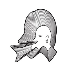 Repeat line of man head wearing earrings with big vector image vector image