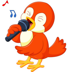 cute orange bird singing vector image vector image