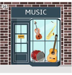 music shop s building facade of brown brick vector image vector image