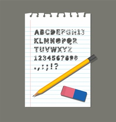PENCIL RUBBER PAPER LETTER vector image vector image