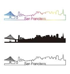 San Francisco skyline linear style with rainbow vector image