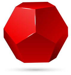 single red dodecahedron vector image vector image