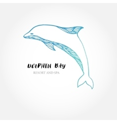 Blue dolphin logo sign logotype design vector image