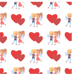 boy girl couple wings back seamless pattern heart vector image vector image