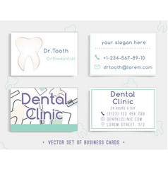 business card template design for a dental clinic vector image