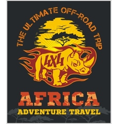 Travel Africa - extreme off-road emblem vector image vector image