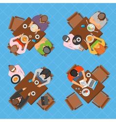 Business people in cafe top view composition vector