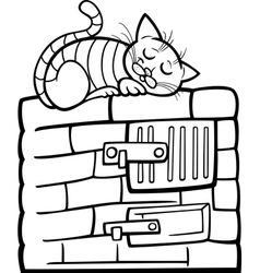 cat on stove cartoon coloring page vector image vector image