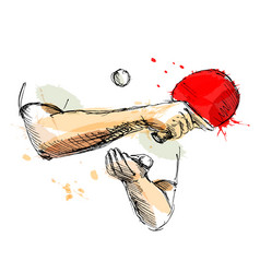 colored hand sketch hand table tennis player vector image vector image