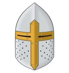 Iron helmet of the medieval knight icon vector image