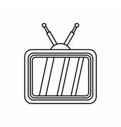 Retro tv with wooden case icon outline style vector image