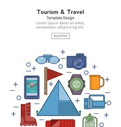Travel flat icons in a circle vector image vector image