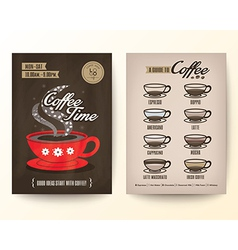 Type of coffee drinks flyer poster design layout vector