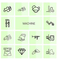 14 machine icons vector