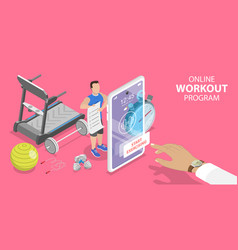 3d isometric flat concept online workout vector image