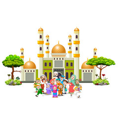 a family are gathering infornt green mosque vector image