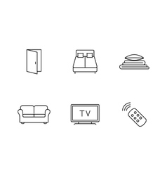 Accommodation booking icon set vector image