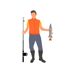 Adult man with catched fish isolated on white vector