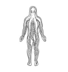 Alien octopus inside human body drawing black vector
