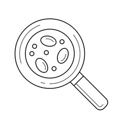 bacteria under magnifying glass line icon vector image
