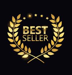 best seller golden label sign vector image