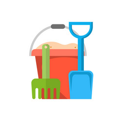 bucket rake and shovel with sand vector image