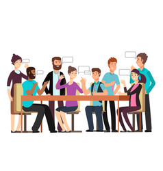cartoon character business team have conversation vector image