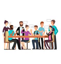 Cartoon character business team have conversation vector