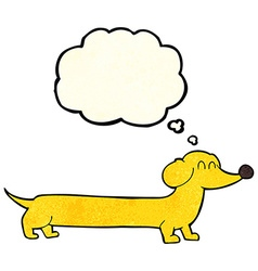 cartoon dachshund with thought bubble vector image