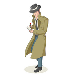 Cartoon of a detective vector