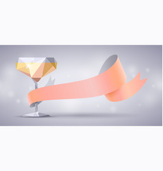 Champagne glass bellini cocktail and rose ribbon vector
