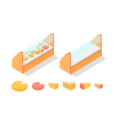 Cheese in groceries showcase isometric vector