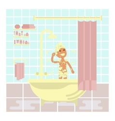 Child is taking a shower vector