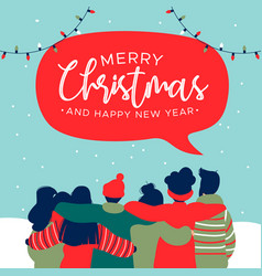 Christmas and new year diverse people group card vector
