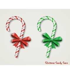 Christmas Candy Cane with Red Bow Isolated on vector image