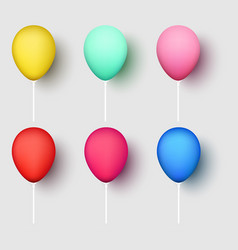 colorful realistic 3d balloons isolated on white vector image
